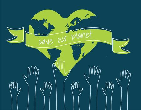 save the world Ecology concept. silhouettes of hands raised up Suitable for posters flyers banners for Earth Day Vector illustration isolated on background Vectores