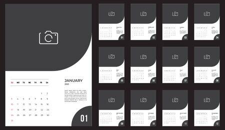 2021 Calendar - illustration. Template. Mock up