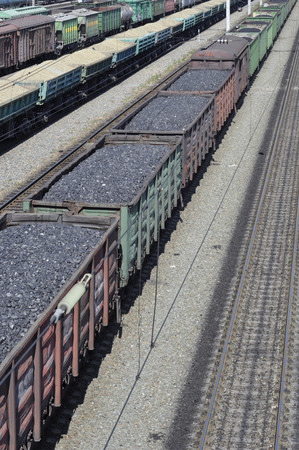 Railway  The cars of coal  Stock Photo - 23294314