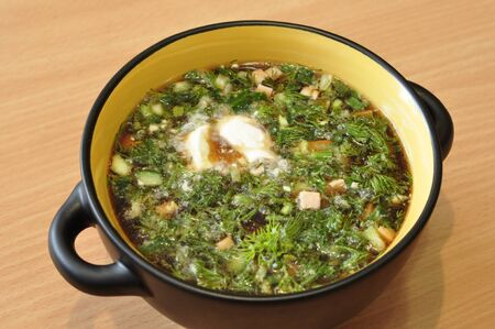 okroshka: The traditional Russian cold soup, Okroshka. Stock Photo