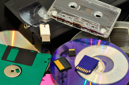 diskette: various recording devices Stock Photo