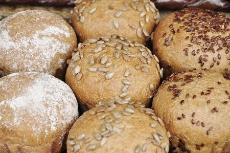bollos: Round buns. Foto de archivo