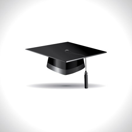 Education cap on white background.