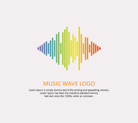 Music wave logo. Audio colorful equalizer element on a white background.