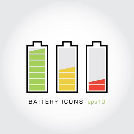 Set of battery icons. Archivio Fotografico