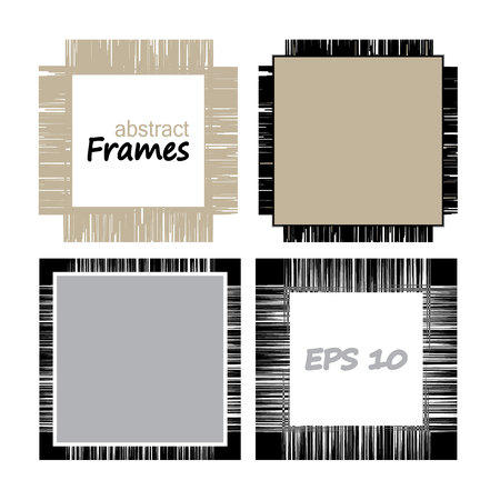 Collection frames of linen.Set of geometric vector frameworks from lines Illustration