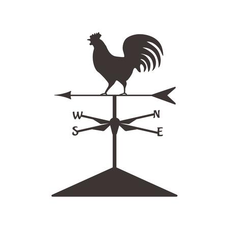 Silueta de gallo del tiempo Gallo aislado. Símbolo de diseño vectorial Ilustración de vector