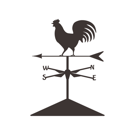 Weather cock silhouette.Isolated wether cock. Vector design symbol