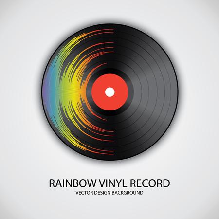 Affiche d'un disque vinyle aux couleurs de l'arc-en-ciel