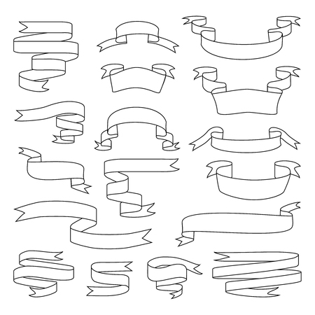 Sketch vector ribbon set. Banner isolated shapes Stock Photo - 115347994