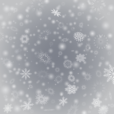 Vector illustration with white blurred snowflakes, glare and sparkles on gray background