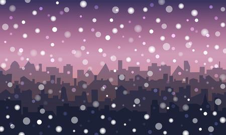 Abendlandschaft der Stadt im Schnee. Nachtstadtbildhintergrund mit fallendem Schnee