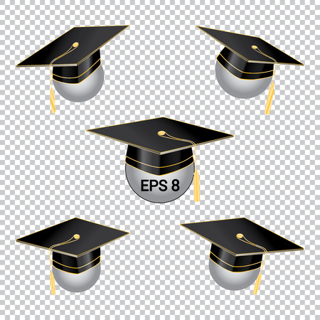Black Education Cup on transparent Background. Graduation student hat with different inclinations. Vector Illustration. EPS 8 Illustration
