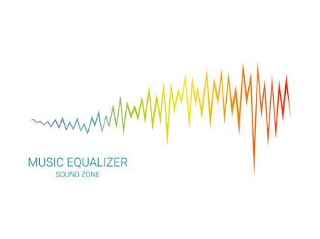 Vector equalizer element on white background. Pulse music player sing. Audio colorful wave. Ilustração