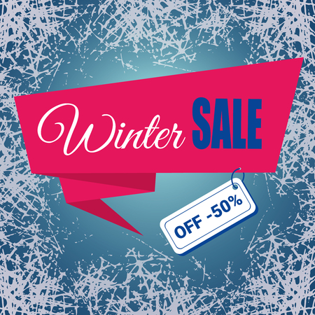 Winter Sale banner or Poster. Plase for text, ribbon on ice frosted background