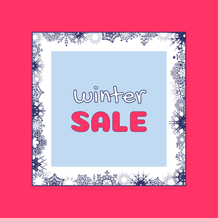 Winter sale banner design with dark blue snowflakes frame and winter sale text in Amaranth square frame. Vector illustration for shopping promotion.