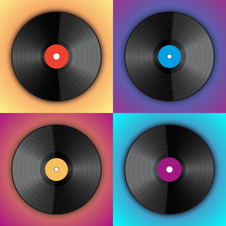 Banner of vinyl player records in the style of pop art. Vinyl Lover interior poster. Vector Illustration of multicolored music discs.