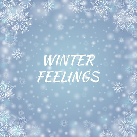 Blau-grauer Feiertagshintergrund. Schneefallwinter Postkarte mit weißen unscharfen und klaren Schneeflocken. Vektor-Illustration. EPS 10 Vektorgrafik