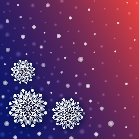 Dark blue snowfall winter background with white blurred dots and 3d snowflakes. Vector Illustration.
