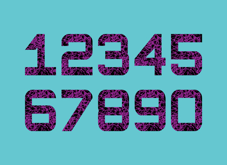Grunge Numbers Design Collection. Black fonts with purple doodle Textured. Math damaged object. Vector illustration.