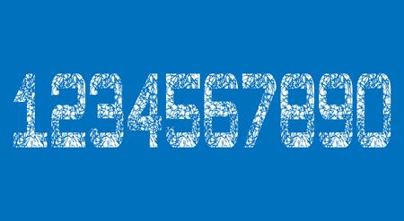 Set of White Grunge Numbers Design on blue background. Dirty Textured fonts. Distress damaged object. Vector illustration. Illustration