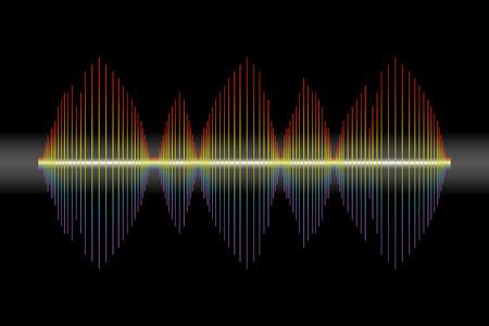 Vector Rainbow pulse player on black with neon Ilustração