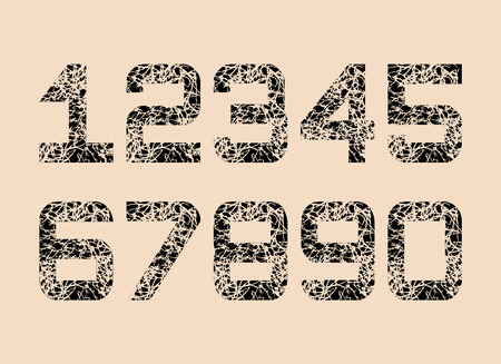 Set of Black Textured fonts Grunge Numbers Design. Math Distress object on creamy background. Vector illustration.