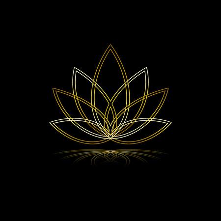 Linear lotus icon. Golden flower symbol on black. Vector floral label for yoga center, spa, beauty salon.