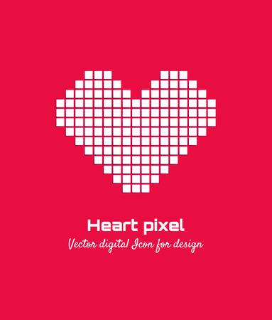 White Pixel love vector illustration. Heart icon. Isolated Logo design. Logo