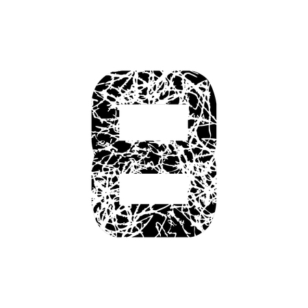 Number eight. Vector symbol 8. Textured font Grunge Numbers Design. Black Math Distress object on white background