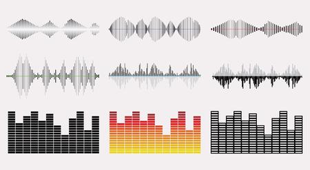 Music Wave Graph Set. Color music soundwave elements collection