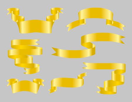 Set of celebration golden glossy ribbon