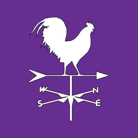 Rooster weather silhouette.Isolated wether cock, design symbol 版權商用圖片