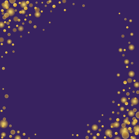 Gold confetti glitter on purple background. Alluring festive overlay template. Majestic sparkling Polka dots vector illustration