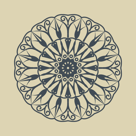 Floral round decorative symbol. Vintage decorative elements. Vector illustration. Monochrome circular pattern on sandy background.