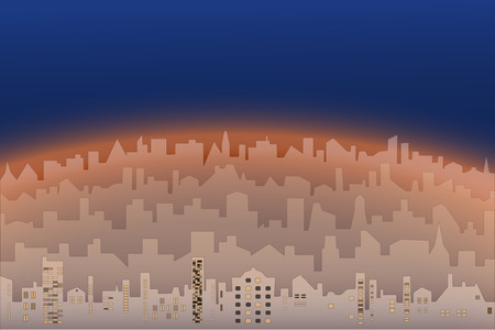 Decorative morning or evening landscape of modern city. Abstract illustration silhouettes of city buildings in sepia.