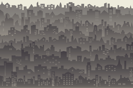 Vector abstract background of big city with roofs, windows in dusk mist, Decorative horizontal landscape of modern city