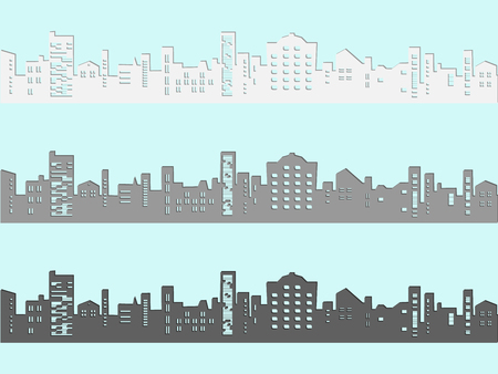 Set of cityscape in cartoon style. White, grey and black landscape skyline with shadow. Modern silhouette of buildings