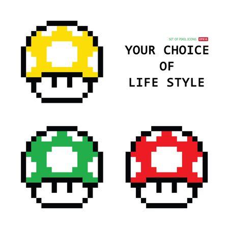 Set di funghi pixel con gioco Mario. Icona digitale amanita rossa, gialla, verde. Illustrazione vettoriale.