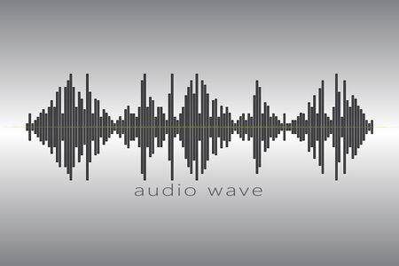 Audio equalizer element on a gray background. Music wave logo. Pulse music player icon. Reklamní fotografie