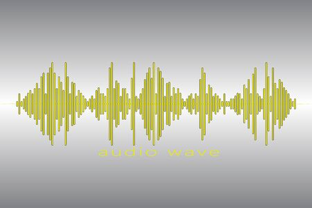 Audio yellow equalizer element on a gray background. Audio Logo Sign. Pulse music player logotype. Sound Wave Illustration.