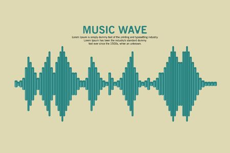 Sound Waveform. Sound wave and musical pulse. Turquoise music player icon. Audio Logo Sign. equalizer element. Reklamní fotografie