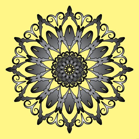 Floral round decorative symbol. Vintage decorative elements. Color circular pattern on yellow background.