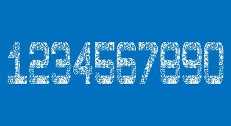 Set of White Grunge Numbers Design on blue background. Dirty Textured fonts. Distress damaged object. Reklamní fotografie