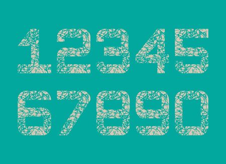 Set of creamy Textured fonts Grunge Numbers Design. Math Distress object on vintage green background.
