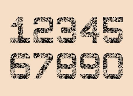 Set of Black Textured fonts Grunge Numbers Design. Math Distress object on creamy background.