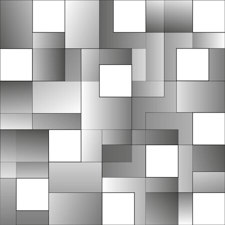 Squares abstract tile white and grey background. Monochrome geometric texture with space modern design.