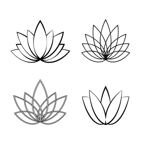 Set of Linear lotus icon. Sketch flower symbols on white.Floral labels for yoga center, spa, beauty salon.