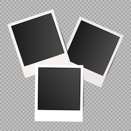 Set of Retro photo frames with shadows. Photograph empty blank template. White border on a transparent background