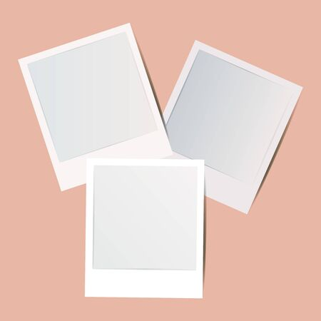 Blank Retro white foto frame Collection with shadow. Set of vintage empty white picture frames with White border, isolated mockup template